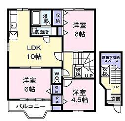 JR青梅線 福生駅 バス6分 草花停下車 徒歩7分の賃貸アパート 2階3LDKの間取り