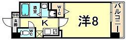 阪神本線 尼崎駅 徒歩5分の賃貸マンション 9階1Kの間取り