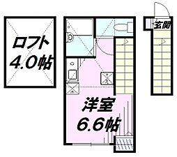 JR中央線 立川駅 徒歩10分の賃貸アパート 2階ワンルームの間取り