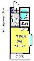 横浜市営地下鉄ブルーライン 下永谷駅 徒歩6分の賃貸アパート 1階1Kの間取り