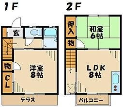 [テラスハウス] 神奈川県厚木市戸室1丁目 の賃貸【神奈川県/厚木市】の間取り