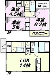 [一戸建] 埼玉県所沢市大字荒幡 の賃貸【/】の間取り