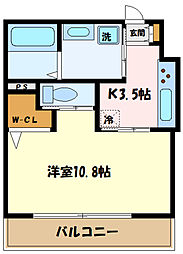 JR南武線 中野島駅 徒歩12分の賃貸アパート 3階1Kの間取り