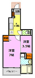 JR水戸線 結城駅 徒歩12分の賃貸アパート 1階2Kの間取り