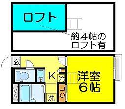 JR高崎線 鴻巣駅 徒歩27分の賃貸アパート 1階1Kの間取り