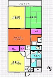 神奈川県横浜市青葉区すみよし台の賃貸マンションの間取り