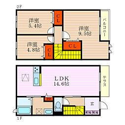 [テラスハウス] 滋賀県彦根市外町 の賃貸【/】の間取り