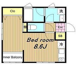 JR武蔵野線 新座駅 徒歩8分の賃貸アパート 2階ワンルームの間取り