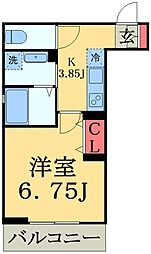 JR総武線 幕張駅 徒歩4分の賃貸マンション 1階1Kの間取り