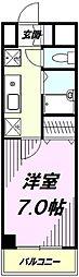 JR中央線 八王子駅 徒歩10分の賃貸マンション 5階1Kの間取り