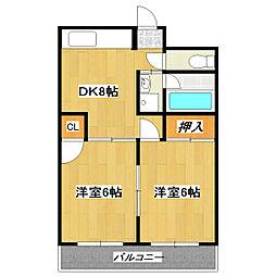 市川第3マンション[503号室]の間取り