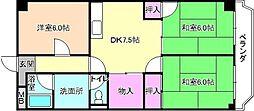 大阪府枚方市中宮西之町の賃貸マンションの間取り