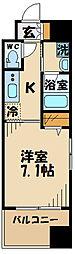 京王線 府中駅 徒歩4分の賃貸マンション 3階1Kの間取り