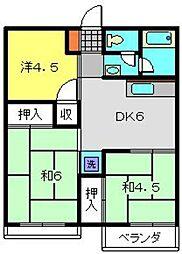 神奈川県横浜市磯子区杉田6丁目の賃貸アパートの間取り