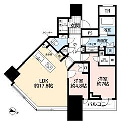 パークコート渋谷ザタワー 7階2LDKの間取り