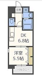 C.P.B.S 8階1DKの間取り