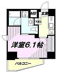 JR中央線 立川駅 徒歩10分の賃貸マンション 5階1Kの間取り