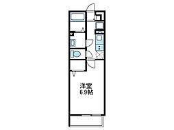 小田急小田原線 小田急相模原駅 徒歩14分の賃貸アパート 1階1Kの間取り