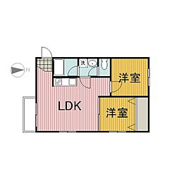 アパートメント田中[4階]の間取り