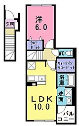 西武池袋線 ひばりヶ丘駅 バス5分 火の見下(埼玉県)下車 徒歩4分の賃貸アパート 2階1LDKの間取り