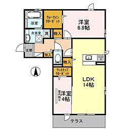 ル・フルーレ 1階2LDKの間取り