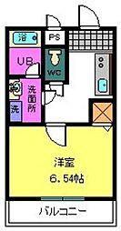COZY HOUSE GUMINOKI 2階1Kの間取り