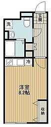 東京メトロ副都心線 地下鉄成増駅 徒歩2分の賃貸マンション 4階ワンルームの間取り