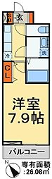 JR武蔵野線 東松戸駅 徒歩5分の賃貸アパート 2階1Kの間取り