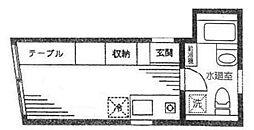 デューク北浦和K2 3階ワンルームの間取り