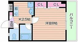 Osaka Metro長堀鶴見緑地線 松屋町駅 徒歩7分の賃貸マンション 6階1Kの間取り