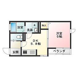 House-N 2階1DKの間取り