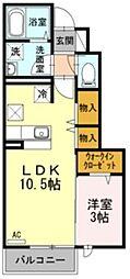JR中央線 国立駅 徒歩11分の賃貸アパート 1階1LDKの間取り