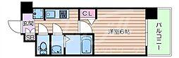 阪急千里線 豊津駅 徒歩12分の賃貸マンション 6階1Kの間取り
