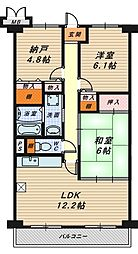 フルール香ケ丘[1階]の間取り