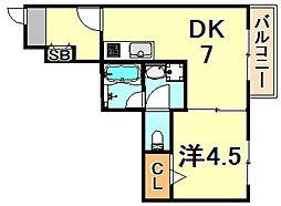コートベルフラワー 3階1LDKの間取り