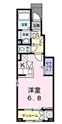JR高崎線 宮原駅 徒歩16分の賃貸アパート 1階ワンルームの間取り