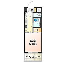 近鉄南大阪線 針中野駅 徒歩5分の賃貸マンション 6階1Kの間取り