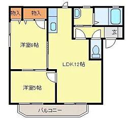 埼玉県三郷市上彦名の賃貸アパートの間取り