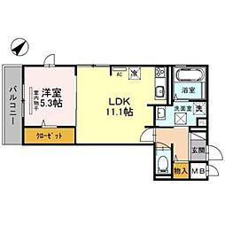 南海線 泉大津駅 徒歩8分の賃貸アパート 3階1LDKの間取り