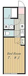 多摩都市モノレール 中央大学・明星大学駅 徒歩2分の賃貸アパート 2階1Kの間取り
