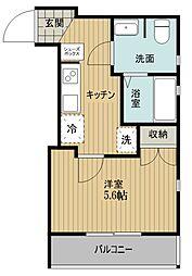 西武新宿線 東村山駅 徒歩5分の賃貸アパート 3階1Kの間取り
