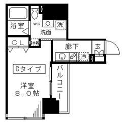 ラフィーネ日本橋 3階1Kの間取り