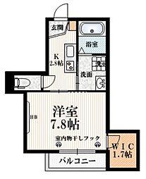 JR中央線 中野駅 徒歩14分の賃貸マンション 2階1Kの間取り