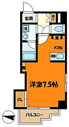 東急東横線 武蔵小杉駅 徒歩9分の賃貸マンション 5階1Kの間取り