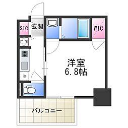 エスリード大阪上本町レジェーロ 11階1Kの間取り