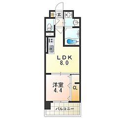 阪急京都本線 上新庄駅 徒歩6分の賃貸マンション 2階1LDKの間取り
