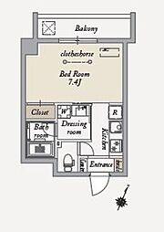 東急世田谷線 上町駅 徒歩4分の賃貸マンション 4階1Kの間取り