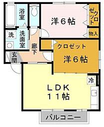 フローラルIII 2階2LDKの間取り