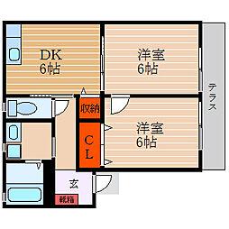 滋賀県彦根市竹ケ鼻町の賃貸アパートの間取り