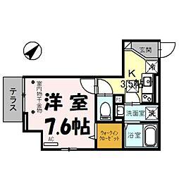 (仮)D-room美園3丁目 1階1Kの間取り